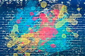 Paint splash on brick wall