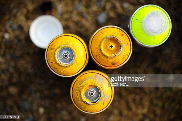 Paint spray cans are gathered into colours as street artists continue their work on a section of wall near Westbourne Park in north London on March...