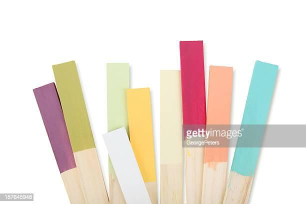 Bâtonnets échantillons de couleur de peinture