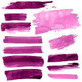 Pink paint strokes on a white background