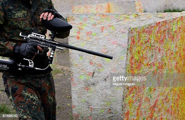 A paintball player is pictured at the Gotcha playground on May 21 2009 in Vysocany Czech Republic The German government has abandoned its plan to ban...