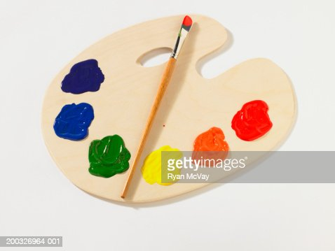 Paintbrush on palette, elevated view