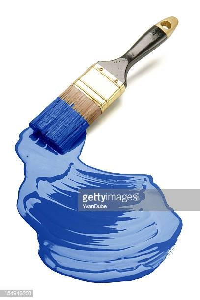 Paintbrush on white underground painting blue
