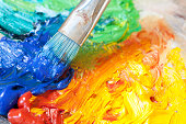Paintbrush with oil paint on a classical palette- OTHER artists materials related photos: