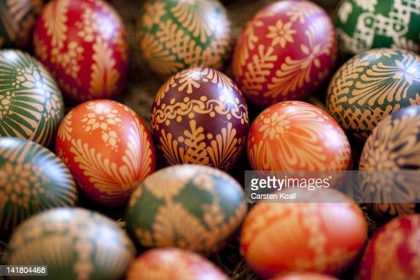 Painted an Easter egg in traditional Sorbian motives at the annual Easter egg market on March 24 2012 in Schleife near Hoyerswerda Germany Easter egg...