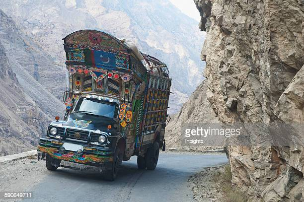 Painted And Decorated Pakistani Truck On Highway S1 Between Skardu And Gilgit In Baltistan Northern Areas Pakistan