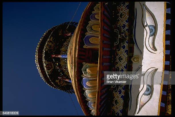 Painted architectural details at Palkhor Chode the great temple of Gyantse Tibet | Location Palkhor Chode Gyantse Tibet