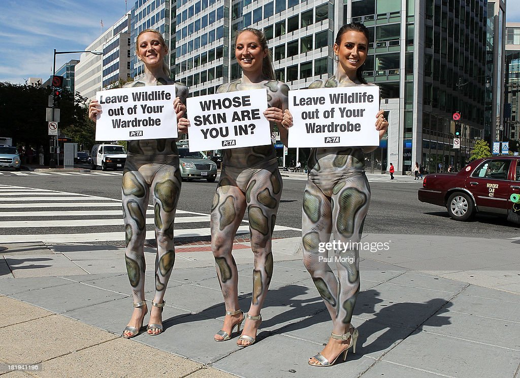 Painted as pythons PETA members (L to R) Ashley, Katie and Mary encourage passersby to leave wildlife out of their wardrobes during the PETA Save Our Skin protest at Farragut Square Park on September 26, 2013 in Washington, DC.
