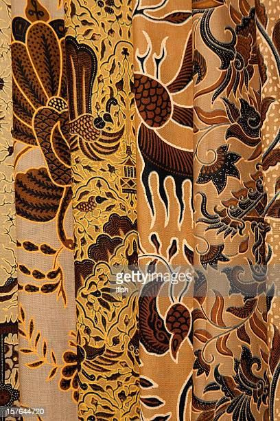 Painted batik textiles at Indonesian textile market