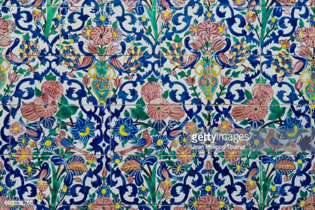 Painted Birds and Flowers on Tiles in a small Mosque of Shiraz, Fars Province, Iran