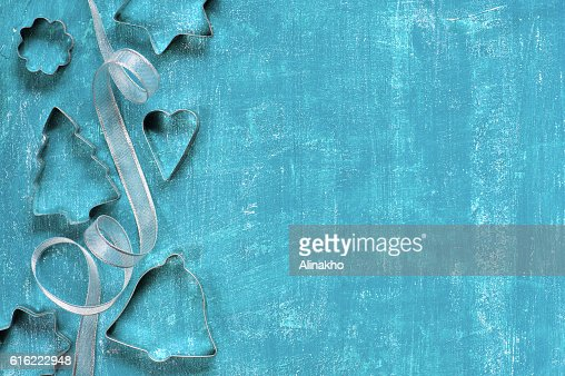 Painted blue background with decoration : Stock Photo