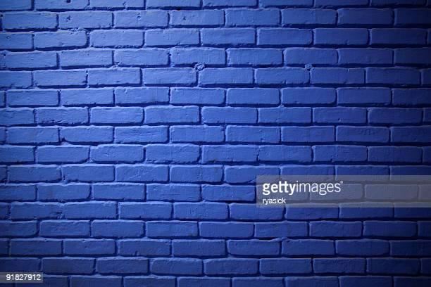 Parede de tijolo de fundo azul pintado