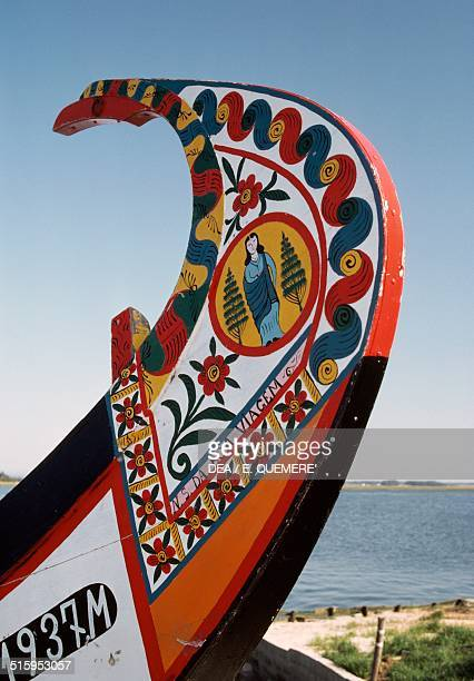 Painted bow of a typical boat known as a moliceiro Aveiro lagoon Portugal
