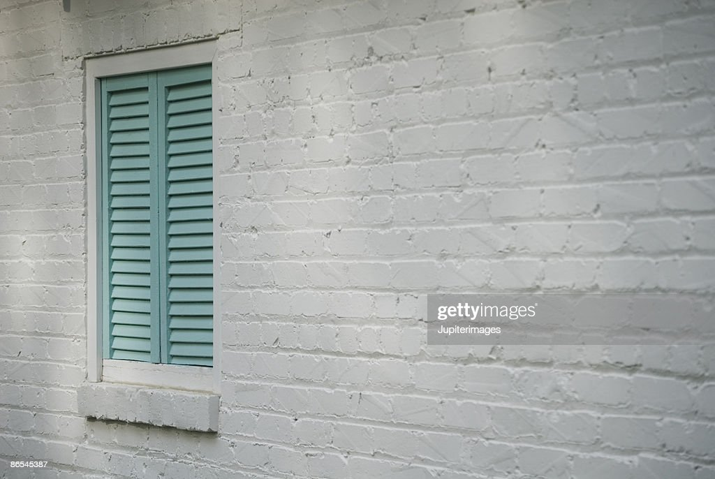 Elegant Painted Brick Wall Exterior : Stock Photo