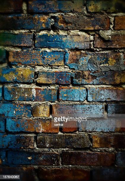 塗りのレンガの壁