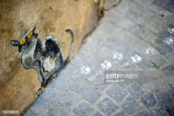 Painted cat on façade and paw prints on pavement