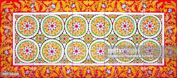 Painted ceiling in Isurumuniya Vihara.