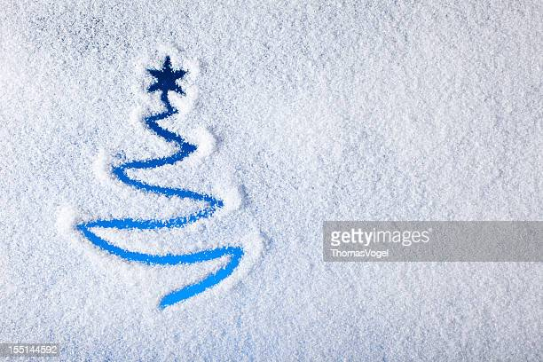 Painted christmas tree on snow - Background Winter Window
