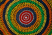 Painted color dot mandala circle Asian African ethnic art craft