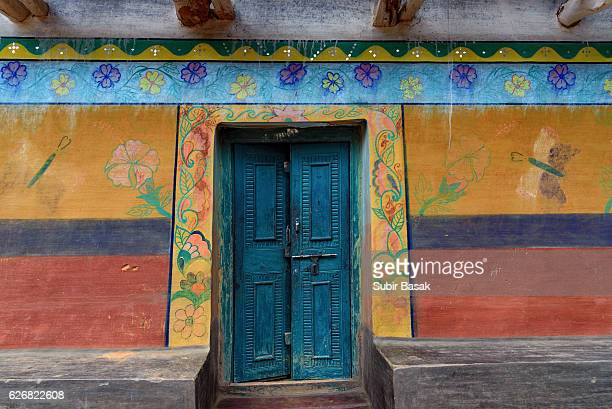 Painted colorful mud house,West Bengal,India.