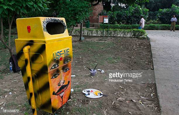Painted dustbin during the public art event on garbage bins as part of NDMC's Urban Art Initiative at the Lodhi Garden on September 21 2013 in New...
