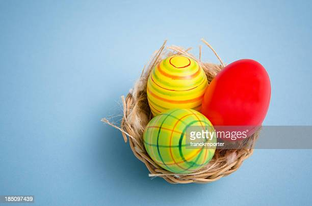 Painted easter egg in animal nest on colored background