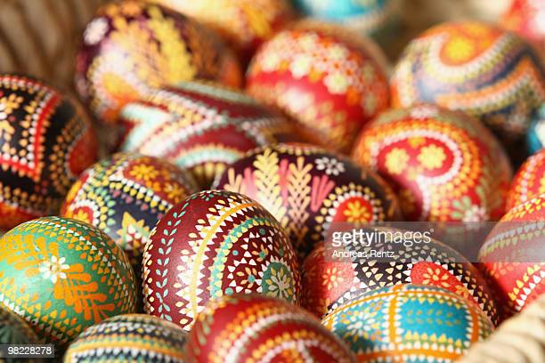 Painted easter eggs in traditional Sorbian motives are pictured on the season opening of the openair museum Lehde on April 3 2010 in Lehde near...