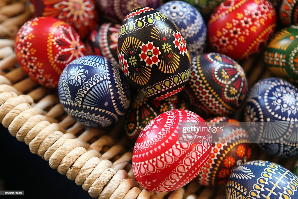 Painted Easter eggs sit on display for sale at the annual Sorbian Easter market on March 16, 2013 in Schleife, Germany. Easter is a particularly important time of year for Sorbs, a Slavic minority in eastern Germany, and the period includes the tradition of painting Easter eggs that include visual elements intended to ward off evil. Many Sorbs still speak Sorbian, a language closely related to Polish and Czech.
