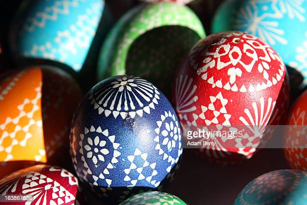 Painted Easter eggs sit on display for sale at the annual Sorbian Easter market on March 16 2013 in Schleife Germany Easter is a particularly...