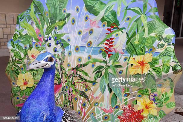 A painted fiberglass peacock on Coconut Grove