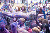 Painted happy festivalgoers on Day 2 of Przystanek Woodstock Festival on July 31 2015 in Kostrzyn Nad Odra Poland The annual 3 day music festival...