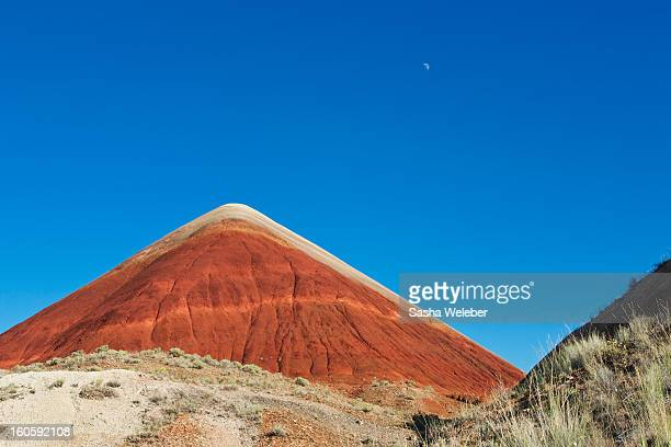 Painted Hills Desert with quarter moon