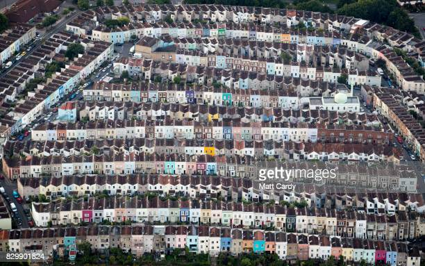 Painted houses in terraced streets are seen from the air on the second day of the Bristol International Balloon Fiesta on August 11 2017 in Bristol...