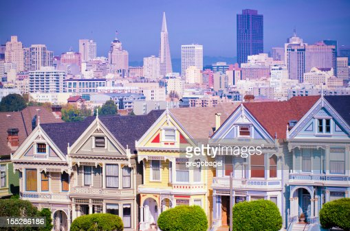 Painted Ladies Houses near Alamo Square in San Francisco