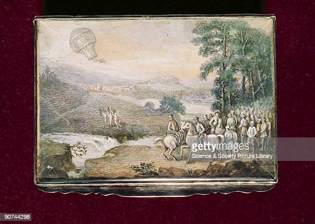 Painted lid of a wooden rectangular snuff box Public balloon ascents began to be held in pleasure gardens after the first successful balloon trips in...