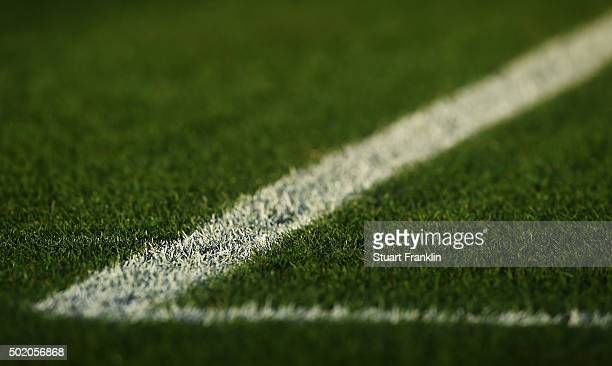 Painted lines on the pitch during the Bundesliga match between Hannover 96 and FC Bayern Muenchen at HDIArena on December 19 2015 in Hanover Germany