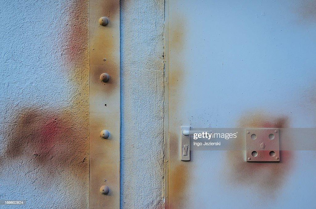 Painted metal door : Stock Photo