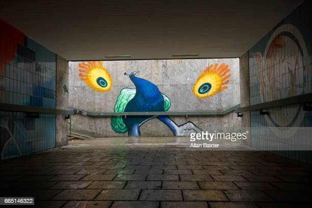 Painted peacock on the entrance to an underpass in Munich