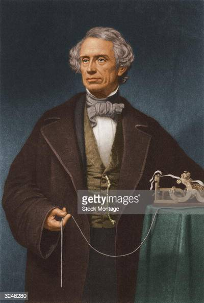 Painted portrait of American artist and inventor Samuel Morse who invented the Morse code system used in sending messages by telegraph circa 1850 He...