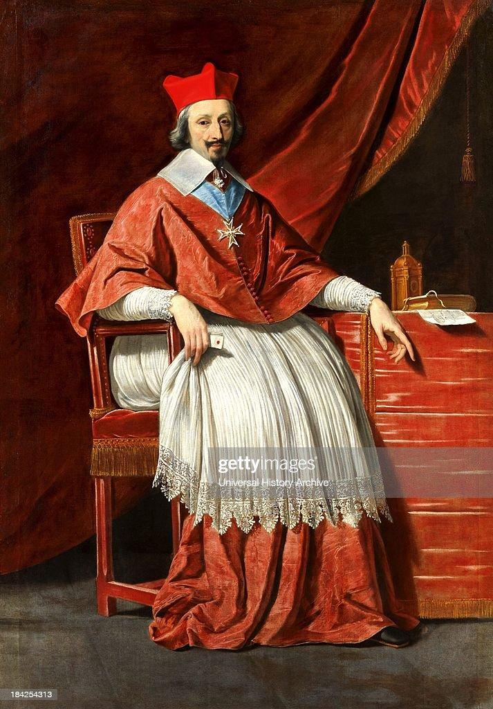 Painted Portrait of Armand Jean du Plessis de Richelieu by Philippe de Champaigne. Circa 1636.