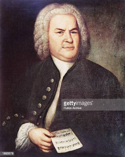 Painted portrait of German composer and organist Johann Sebastian Bach holding the 'Canon triplex for Six Voices' Leibzig Germany painted by Elias...