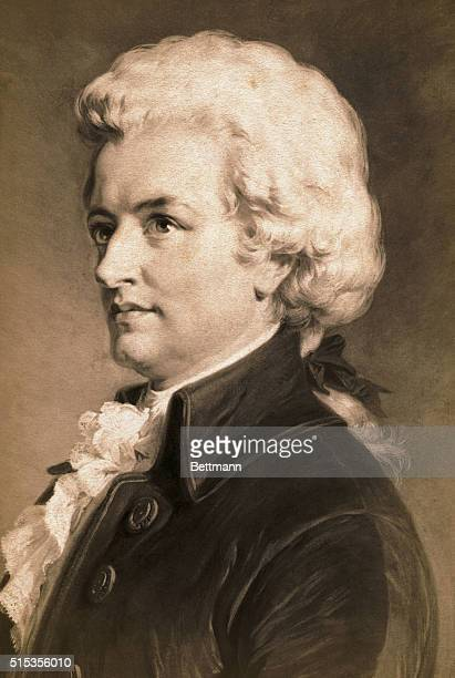 Painted portrait of Wolfgang Amadeus Mozart 3/4 face wearing a white powdered wig Undated painting