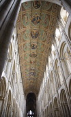 Painted roof ceiling interior Ely cathedral Cambridgeshire England