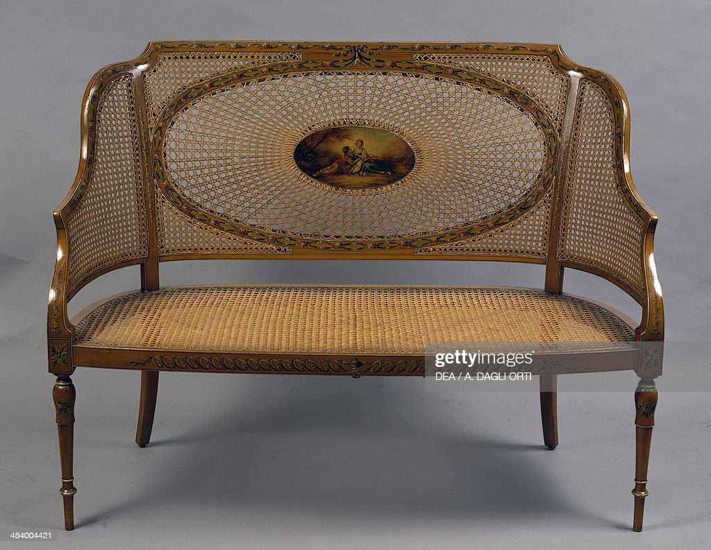 Painted satinwood loveseat with wicker back and seat 1790 United Kingdom 18th century