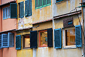 Painted shutters on the Ponte Vecchio, Florence, Italy
