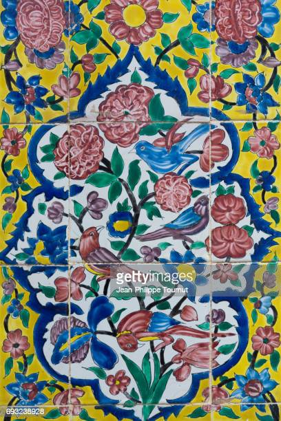 Painted tiles on a wall of a small mosque of Shiraz, Fars Province, Iran