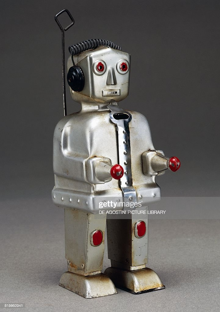 painted tin toy robot germany th century milan museo del giocattolo e del bambino