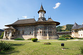 Bukovina frescoes, painted exterior walls at Sucevita Monastery in Romania.