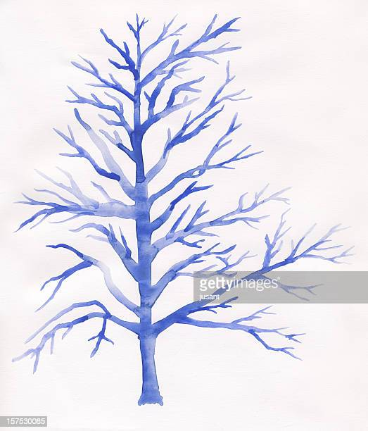 Painted watercolor tree