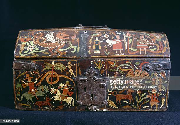 Painted wood chest with hunting scenes Bolivian colonial art Bolivia 16th century
